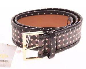 New Tory Burch Women Haber Print Belt Gold Buckle Java Brown Black Geometric XS