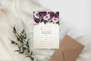 DIY Wedding Invitations Write Your Own Invites Day Night RSVP Purple Floral CW25
