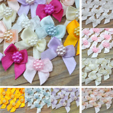 10/100 pcs Mini Pearl Satin Ribbon Flowers Bows Gift DIY  Wedding Decoration