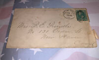 "1882 - 6"" x 3.5"" Envelope addressed to Mrs P.E.Prindle  New Haven, CT"