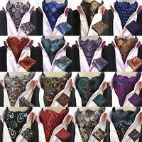 Men Floral Paisley Cravat Ascot Necktie Matching Hanky Pocket Square Set HZ238