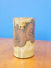 More details for retro briglin studio pottery vase, wax resist cylinder, handmade 1970s ceramics
