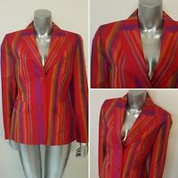 Ladies SILK Stripe Blazer Sz 12 Boating Regatta Rainbow Wedding Jacket Summer