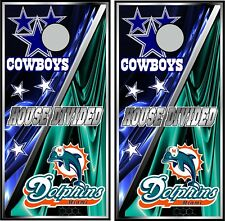 Cowboys & Dolphins Hd 0458 split cornhole board vinyl wraps stickers posters