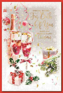 BOTH OF YOU CHRISTMAS CARD ~ CHAMPAGNE DESIGN QUALITY CARD & LOVELY VERSE