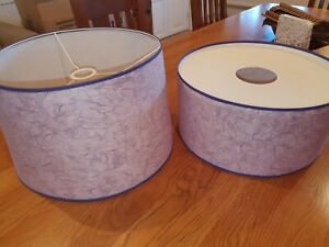x2 large immaculate lampshades light purple raw silk