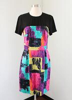 Trina Turk Black Rainbow Contrast Dress Size 6 Career Office Casual Short Sleeve
