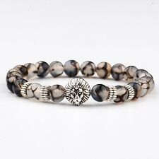 8MM Fashion Men's Natural Stone Gold/Silver Lion Buddha Beaded Charm Bracelets