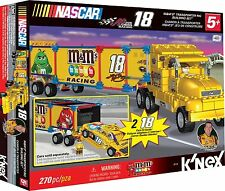 NEW K'NEX NASCAR Building Set: #18 M&M's Racing Transporter Rig Toy - 270pc