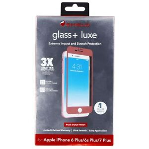 ZAGG Glass + Luxe Screen Protector for iPhone 8 Plus/7 Plus - Rose Gold
