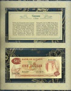 *Most Treasured Banknotes Guyana 1989 1 Dollar UNC P-21f Sign 7 Prefix 22