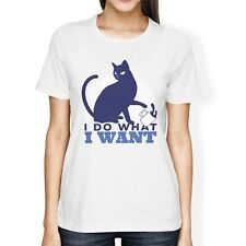 """1Tee Womens Loose Fit """"I Do What I Want"""" Cat T-Shirt"""