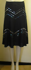 WAREHOUSE  black linen blend  skirt  with zigzags of sequins size 10 Free P&P