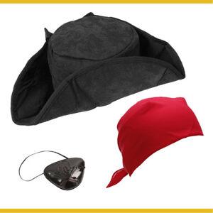 Pirate Costume Hat Accessories: Adult Fancy Dress Eye Patch Character Men Women