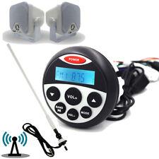 "Marine Stereo Audio Bluetooth Waterproof Boat FM AM Radio + 4"" Speakers+ Antenna"