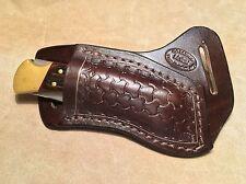 Custom Leather Crossdraw Sheath w/round basketweave for BUCK 110/112 Knife