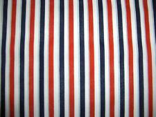 July 4th Patriotic Red White Navy Blue Stripes Cotton Quilt Fabric BTY