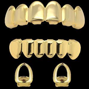 14k Gold Plated Hip Hop Teeth Grillz Caps Top & Bottom Set + 2 Single Open Teeth