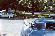 Kodachrome Color 35mm Slide 1950s Pretty Woman Bridesmaid Dodge Sierra Wagon Car
