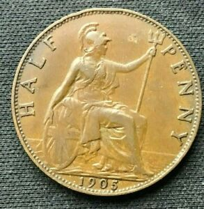 1905 Great Britain Half Penny Coin XF +    Bronze World Coin       #C183