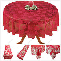 Red Lace Tablecloth Dining Table Cover Wedding Party Xmas Decor Table Runner