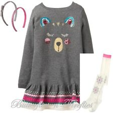 NWT Gymboree Ice Dancer 3pc Set BEAR Sweater Dress Tights Headbands Girls S 5-6
