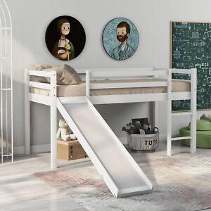 Children's Cabin Bed Frame with Slide & Ladder For Kids Living Room Bedroom