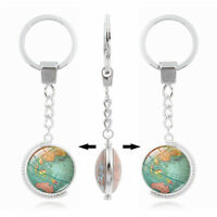 Vintage World Map Globe Double-sided Rotate Cabochon Keyring Keychain Gift