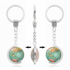 Vintage World Map Globe Double-sided Rotate Cabochon Keyring Keychain Gift
