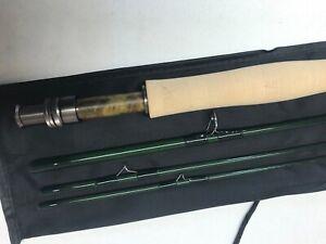 "Custom Built 8'6"" - 4wt Rainshadow graphite fly rod , feather inlays with sock."