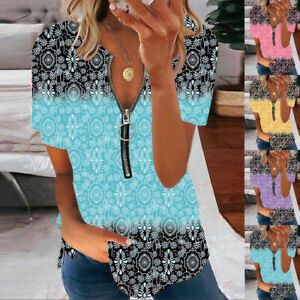 Womens Loose Holiday Casual Tee Shirt Basic Ladies Ombre Zipper Blouse Tops