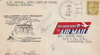 U.S. Airmail Speed Reply Label 1934 Welcome USS MACRON Slogan Stamp Cover 48492