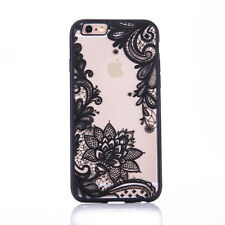 Lace Pattern Silicone Bumper Clear Hard Phone Case Cover For iPhone 6s 7 Plus