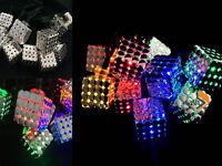 20 MULTI COLOURED LED MAGIC CUBE LANTERN SOLAR GARDEN FAIRY STRING XMAS LIGHTS
