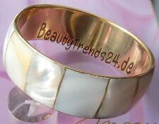 EMOTHIC STYLE: PERLMUTT-ARMREIF aus MESSING, 22 mm breit, 66 mm Ø Armband Gold