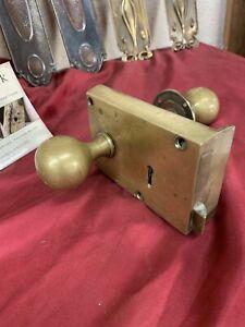 SUPERB - RECLAIMED Victorian - ANTIQUE HEAVY BRASS DOOR LATCH / RIM LOCK /HANDLE