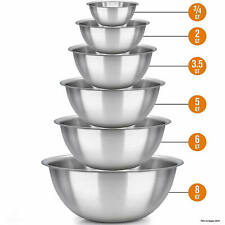 6x Stainless Steel Mixing Bowls Polished Mirror Finish Kitchen Cooking Supplies