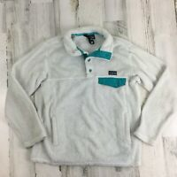 FLAWS Patagonia Girls Re-Tool Snap-T Fleece Raw Linen White Aqua Pullover