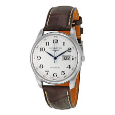 Longines Master Collection Automatic Silver Dial Brown Leather Mens Watch
