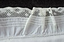 Vintage Antique BOUDOIR PILLOW SHAM with Embroidery & Ruffled Edge VV134
