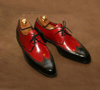Two Tone Red Black Contrast Wing Tip Rounded Toe Handmade Leather Shoes For Mens
