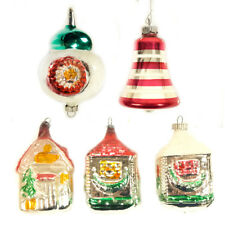 Mixed Lot of 5 Vintage Christmas Holiday House, Bell, misc. Ornaments.