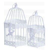 White Hexagonal Decorative Wedding Birdcage Table Centrepiece Bird Design CS088