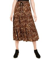 Style & Co. Women's Tiered Ruffle Animal-Print Skirt, Brown, Size XXL, $60, NwT