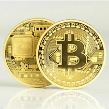 1Pc GOLD Plated Bitcoin Coin Collectible -AWESOME GIFT COMMEMORATIVE BITCOIN US