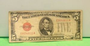 1928 C $5 Red Seal US Note