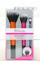Real Techniques Duo Fiber Collection -3 Makeup Brushes Set New Packaging RT#1414
