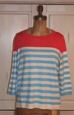 Talbots~NWT~CORAL and blue STRIPED SWEATER~3X~Retail $99