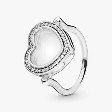 PANDORA 197252cz-56 Ring Sz 56 Sparkling Floating Heart Locket Sapphire Crysta