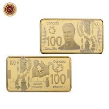 WR Canada 100 Dollars Bill 24K Gold Plated Bullion Bar Bussiness Office Gift Men